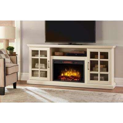 Edenfield 70 In Freestanding Infrared Electric Fireplace Tv Stand In Aged White Inneneinrichtung Haus Dekor Wohnung