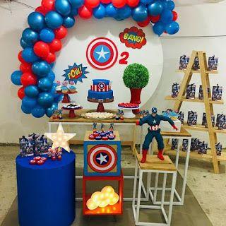 108 Impresionantes Ideas De Decoración Para Fiesta Del Capitán América Para Niños Fiesta De Los Vengadores Fiesta Capitan America Decoracion Fiesta