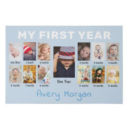 Baby S First Year Custom 12 Months Photo Collage Faux Canvas Print Zazzle Com Customized Photo Gifts Birthday Collage Personalized Nursery Decor