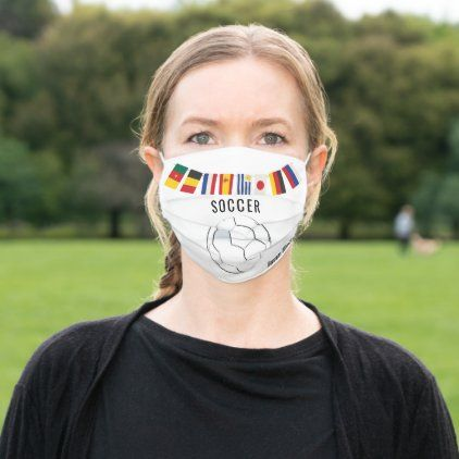 Soccer Themed Cloth Face Mask Zazzle Com In 2020 Face Mask Soccer Face