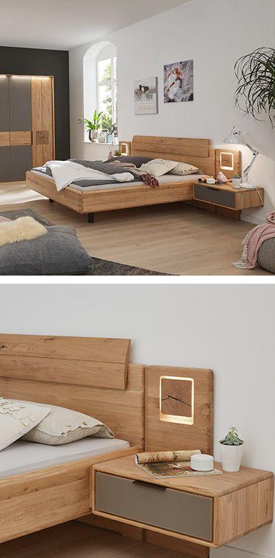 Bettanlage 180 200 Cm In Eichefarben Holz Schlafzimmer Holzbett