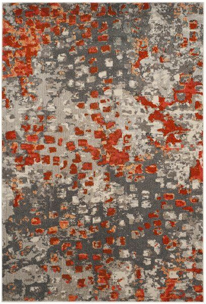 439 Indira Gray Orange Area Rug With