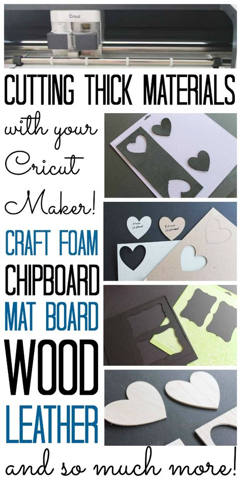 Tips and tricks for using the Cricut knife blade and cutting other thick materials with your Cricut Maker. Includes wood, mat board, chipboard, leather, and so much more! crafts projects Cricut Knife Blade and Cutting Thick Materials with the Cricut Maker Cricut Mat, Cricut Help, Cricut Craft Room, Cricut Vinyl, Cricut Fonts, Cricut Ideas, Cricut Tutorials, Cricut Blades, Foam Crafts
