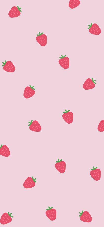Strawberries Flower Phone Wallpaper Simple Iphone Wallpaper Pretty Wallpaper Iphone Beautiful kawaii strawberry wallpaper
