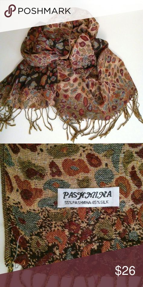 """Pashmina Oversized Scarf Animal Print Silk Blend Pashmina Oversized Scarf  Animal Print Multi-color Silk Blend- soft and warm!  Some Gold Thread woven within makes ot really sparkle!  70"""" x 27"""" with 4"""" fringe at the edges pashmina Accessories Scarves & Wraps"""