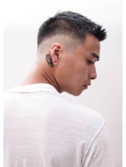 ワイルドツーブロックセミウェットテクノクラウドマッシュ アジア人 ショートヘア アジアの男性のヘアスタイル アジア風