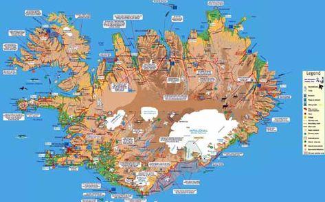 Map Iceland Island Urlaub Karte Island