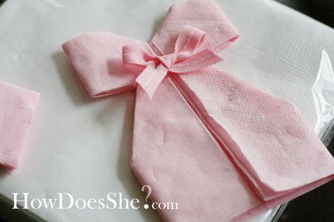 DIY décoration: pliage de serviette robe pour babyshower, baptème ou anniversaire