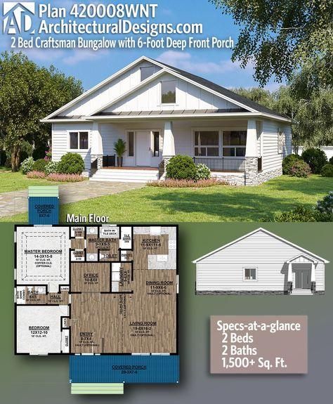 2 Bedroom One Story Craftsman House Plan 420008WNT gives you 1,500+ square feet of living space with 2 bedrooms and 2 full baths from Architectural Designs. AD House Plan #420008WNT #adhouseplans #architecturaldesigns #houseplans #homeplans #floorplans #homeplan #floorplan #floorplans #houseplan
