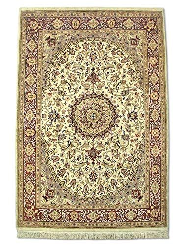 Traditional Persian Handmade Isfahan Rug Silk Wool Cream 4 2 X 6 2 Ft In 2020 Silk Wool Hearth Rug Wool