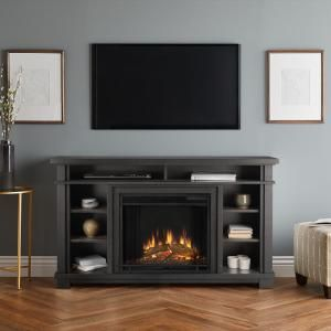 Real Flame Belford 56 In Freestanding Electric Fireplace Tv Stand In Gray 7330e Gry The Home Depot Fireplace Entertainment Media Electric Fireplace Fireplace Entertainment Center
