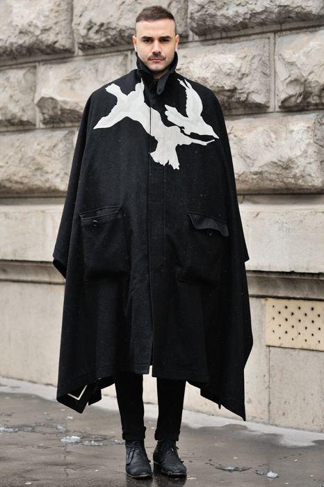 Oversized cape with birds print #textiledesign #graphic #outerwear #coat #cape #textile #menswear #mensfashion