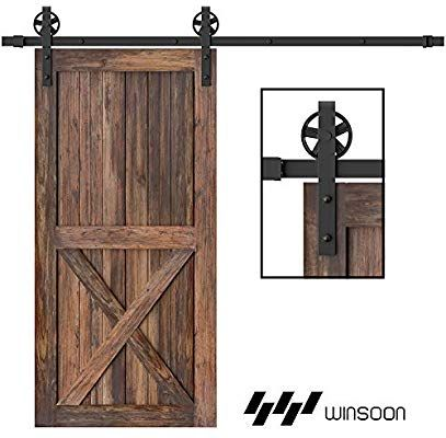 Amazon Com Winsoon 5 16ft Single Wood Sliding Barn Door Hardware Basic Black Big Spoke Wheel Roller Kit Garage Clos In 2020 Barn Door Hardware Woods Sliding Barn Door