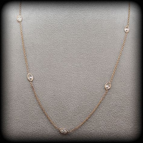 Marquise Shape Diamond Necklace In 14k Yellow Gold