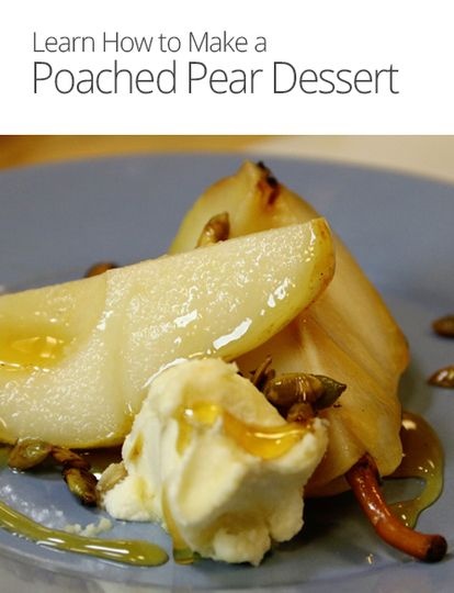 Top off your holiday meal with a light and fresh dessert. We show you how to make poached pears in a spiced white wine syrup.