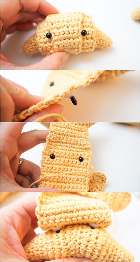 Just a cute little amigurumi croissant to brighten your day and help break your fast. Free crochet pattern and step by step pictorial included. Diy Crochet And Knitting, Crochet Birds, Crochet Food, Crochet Bear, Crochet Patterns Amigurumi, Crochet Crafts, Crochet Flowers, Crochet Projects, Knitting Patterns