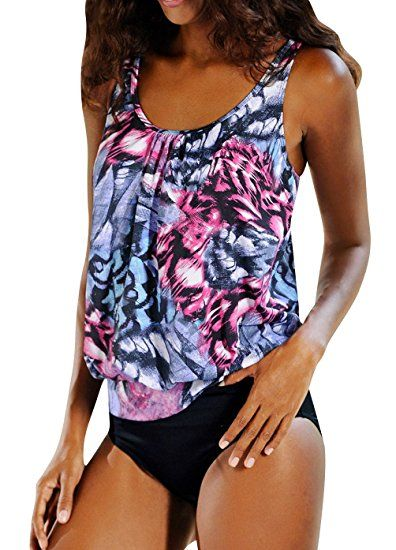hot sale online c3c2e fb220 OUO Damen Tankini Push Up mit Slip Badeanzug Figurformend ...