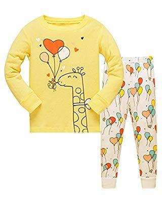 Tkiames M/ädchen Schlafanzug Giraffe Baumwolle Kinder Langarm Pyjama