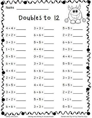 Doubles Addition Worksheet 2nd Grade 2nd Grade Math Worksheets Math Fact Worksheets Second Grade Math Doubles facts worksheets