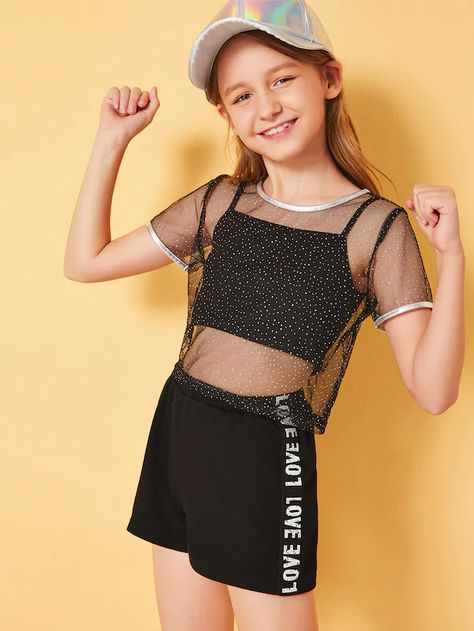 Product name: Girls Contrast Metallic Binding Mesh Overlay Top and Short Set at SHEIN, Category: Girls Two-piece Outfits