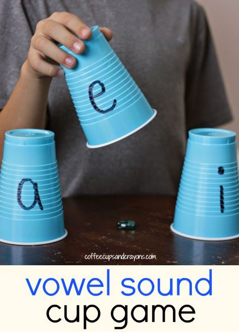 Vowel sounds are hard to practice, especially the A, E, and I. To make the phonics practice fun we created a fun vowel sounds practice game with cups! - Education and lifestyle Alphabet Activities, Classroom Activities, Learning Activities, Fun Learning, Kinesthetic Learning, Learning Spanish, Letter Sound Activities, Language Activities, Classroom Fun