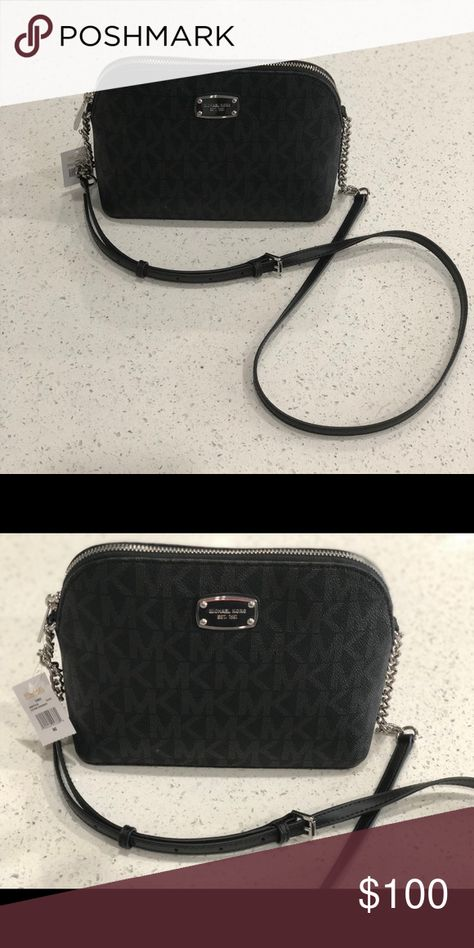 b67aed564690 Michael Kors Crossbody •Authentic Michael Kors •Cindy Dome Crossbody •Black  and Silver Michael Kors Bags Crossbody Bags