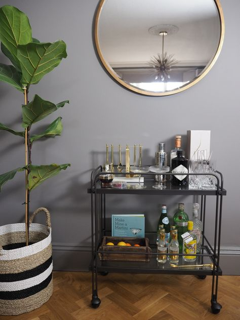 Our living room – adding the final touches with this West Elm bar cart/drinks trolley!