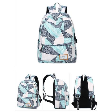 22cd6a7b2a2a Fresh Geometric Pattern Printing Girl s Student Rucksack Waterproof Large  Canvas School Backpack