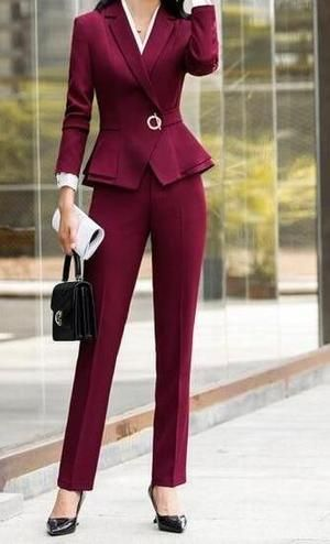 Red Dressy Pants Suits For Evening Wear
