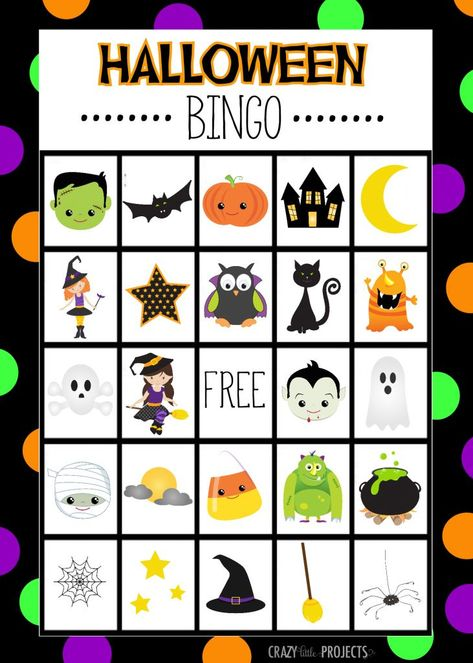 Free Printable Halloween Bingo Game Cards This Halloween Bingo game is the cutest that you will find! Eight free printable game boards that you can print and play at any Halloween class party or just with the kids to make the holiday more fun! Halloween Designs, Halloween Tags, Carte Bingo Halloween, Kindergarten Halloween Party, Diy Halloween Party, Classroom Halloween Party, Halloween Games For Kids, Kids Party Games, Free Halloween Printables