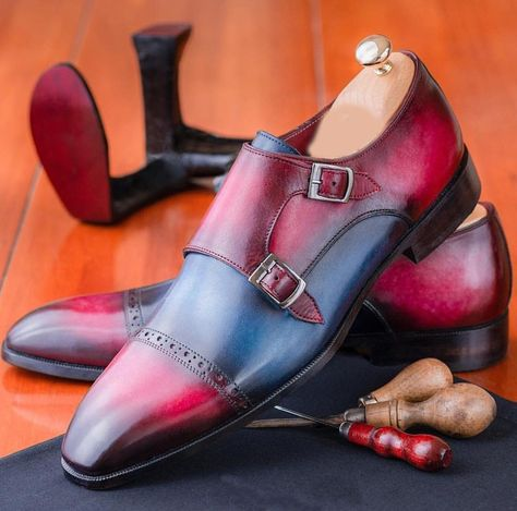 Handmade Multi Color Monk Shoe, Men Burgundy Blue Double