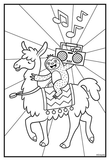 Sloths Love Llamas Boombox Coloring Page Crayola Com Crayola Coloring Pages Cute Coloring Pages Free Kids Coloring Pages