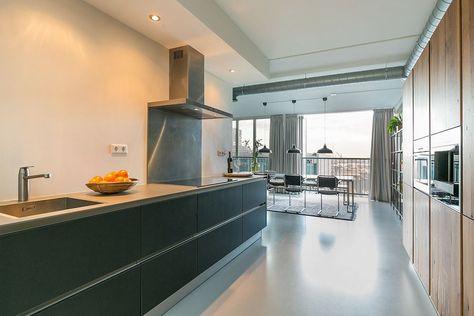 Industriele Keuken Rotterdam : Keuken zwart stoer industrieel loft schiehavenkade 318 in