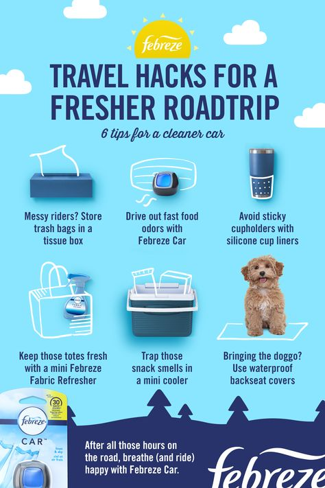 Planning a summer vacation family road trip? Before you hit the road, prep your ride with these car essentials. Whether you're going cross-country or headed to your nearest national park, you can entertain the kids in the car and keep it tidy. Just don't forget the easiest road life hack of 'em all—clip in a Febreze CAR Vent Clip to keep your ride smelling better (and fresher) all vacation long.