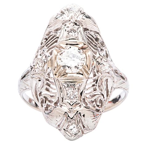 .32 Carat Diamond Gold Filigree Engagement Ring   From a unique collection of vintage engagement rings at http://www.1stdibs.com/jewelry/rings/engagement-rings/
