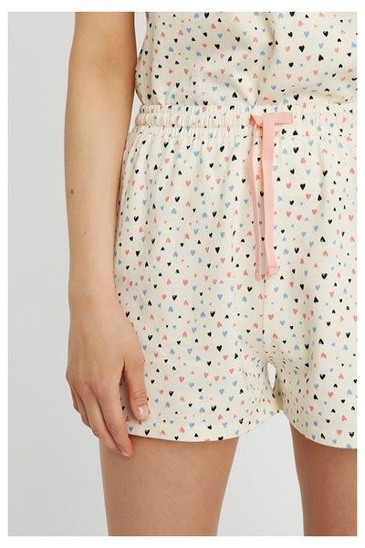 People Tree Damen Heart Print Pyjama Shorts Schlafanzughose