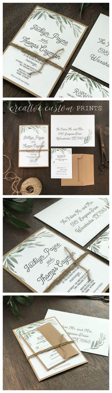 Greenery Wedding Invitation Set, Eucalyptus Wedding Invitation, Boho Wedding Invitation, Botanical Wedding Invitation, Garden Wedding