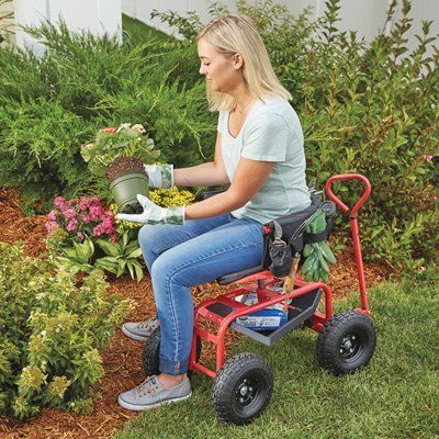 Steerable Rolling Seat With Tool Tray Tray Storage Baskets