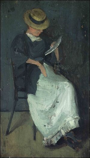"""Woman in a Straw Hat Reading a Letter"" Beatrix Whistler"