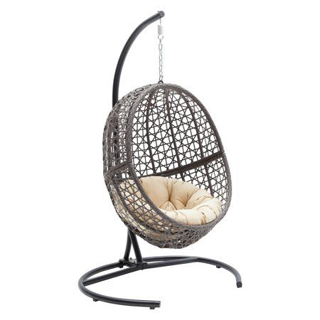 Mid Century Rattan Chair, Belham Living Resin Wicker Hanging Egg Chair With Cushion And Stand Walmart Com Hanging Egg Chair Swinging Chair Egg Swing Chair