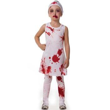 Fantasia De Enfermeira E Composta Por Vestido Estampado Com Desenhos De Sangue Faixa De Cabelo E Fantasias De Halloween Infantis Fantasias Fantasias Halloween