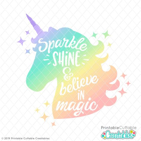 Unicorn free SVG file download available at Printable Cuttable Creatables featured on WildflowersAndWanderlust.com