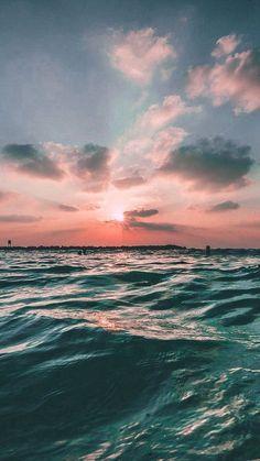 Sunset Sea Sky Ocean Summer Green Water Nature Iphone 7
