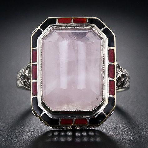 Art Deco Rose Quartz and Enamel Ring