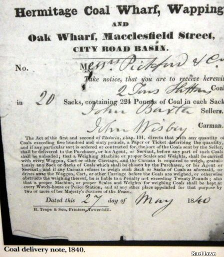 1840 Coal Delivery Docket from the Hermitage Coal Wharf, Wapping - delivery docket