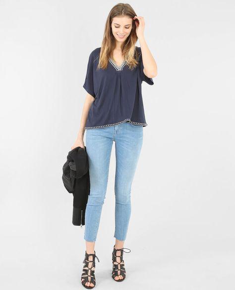 T-Shirt mit geflochtenem V-Ausschnitt Marineblau