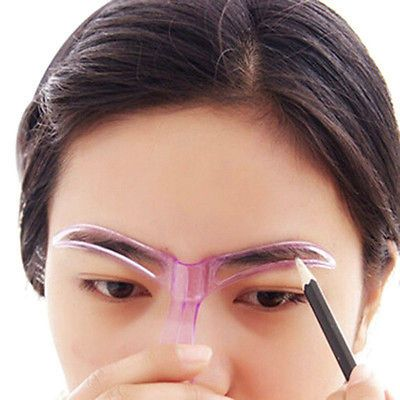 2Pc Template Eyebrow Drawing Card Brow Makeup Stencil Grooming Shaping Assistant