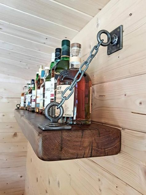 Industrial Decor 65072 Solid English Oak Rustic Industrial Farmhouse Style Shelf With Metal Industrial Chains