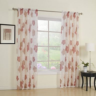 One Panel Red Flower Print Sheer Curtain Usd 19 99 With