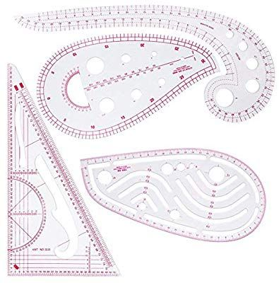 DIY Sewing Ruler Tailor Set 7 Pieces French Metric Ruler Set Plastic Curve Shaped Grading Rulers for Dressmaking Pattern Design Bendable Drawing Template for Dressmaking Multi-Purpose Cutting Ruler